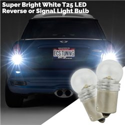 Super Bright White T25 1 LED Reverse or Signal Light Bulb (Pair)