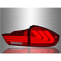 HONDA CITY GM6 2014 - 2017 Lexus-Style Red Smoke Lens LED Light Bar Tail Light with Sequential Signal [TL-250]