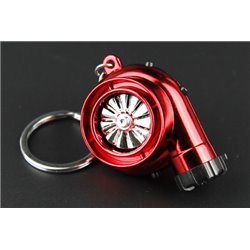 [Limited Edition] Turbo Cigarette Lighter Rechargeable Keychain Key Ring with Spinnable turbine + Sounds + LED Light! (Red)