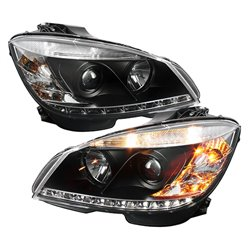 MERCEDES BENZ W204 C-Class 2008 - 2010 SONAR LED Starline Daytime Runnig Light Projector Head Lamp (Black Housing)