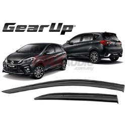 "PERODUA MYVI 2017 - 2018 GEAR UP Style 3"" Injection Anti UN Light Smoke Black Door Visor"