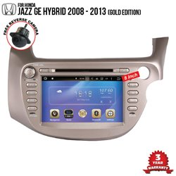 "HONDA JAZZ GE Hybrid 2008 - 2013 8"" Gold Edition DLAA Double Din DVD BT SD USB CD Player with GPS"