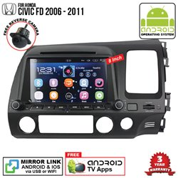 "HONDA CIVIC FD 2006 - 2011 SKY NAVI 8"" FULL ANDROID Double Din GPS DVD CD USB SD BLUETOOTH IOS Mirror Link Player"