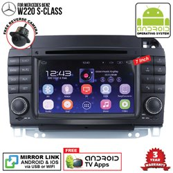 "MERCEDES BENZ W220 S-CLASS SKY NAVI 7"" FULL ANDROID Double Din GPS DVD CD USB SD BLUETOOTH IOS Mirror Link Player"