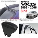 [3in1] TOYOTA VIOS 2002 - 2006 Vortex Generator Roof Fin Visor + Leather Center Arm Rest + Mugen Style Door Visor