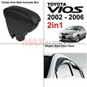 [2in1] TOYOTA VIOS 2002 - 2006 Leather Center Arm Rest Console Box + Mugen Style Door Visor