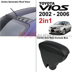 [2in1] TOYOTA VIOS 2002 - 2006 Vortex Generator Roof Fin Visor + Leather Center Arm Rest Console Box
