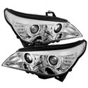 BMW E60 5-Series 2003 - 2006 SONAR D2S CCFL LED Light Ring Daytime Running Light Double Projector Head Lamp (Chrome Base)