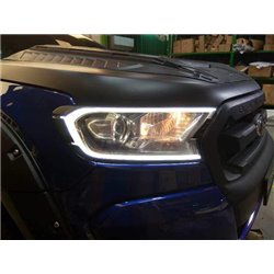 FORD RANGER T7 2015 - 2018 Head Lamp Matte Black Cover with LED Light Plank Daytime Running Light