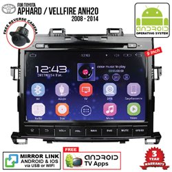 "TOYOTA ALPHARD/ VELLFIRE ANH20 2008 - 2014 SKY NAVI 9"" FULL ANDROID Double Din GPS DVD CD USB SD BLUETOOTH IOS Mirror Link Playe"