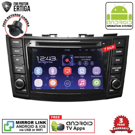 "PROTON ERTIGA SKY NAVI 7"" FULL ANDROID Double Din GPS DVD CD USB SD BLUETOOTH IOS Mirror Link Player"