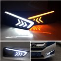 HONDA CITY GM6 2014 - 2016 Arrow Style White Blue LED Daytime Running Light Fog Lamp Cover with Yellow Signal