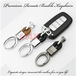 Premium PU Braided Leather Rope Zinc Alloy Fashion Styling Car Vehicle Remote Waist Hanging Buckle Keychain Keyring Holder