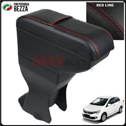 PERODUA BEZZA Leather PU Black Magnetic Arm Rest with Card Holder [AL]