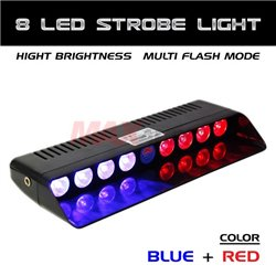 8 LED RED and BLUE Car/Truck/Police Dashboard Windshield Emergency Warning Strobe Flash Light [S3-8 LED]