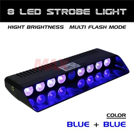 8 LED BlUE and BLUE Car/Truck/Police Dashboard Windshield Emergency Warning Strobe Flash Light [S3-8 LED]