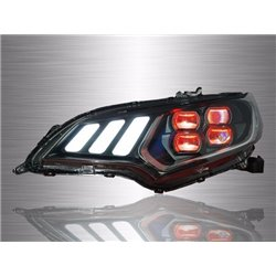 HONDA JAZZ GK 2014 - 2018 Mustang Style Daytime Running Light Red Demon Eyes LED Projector Head Lamp with Sequential Signal