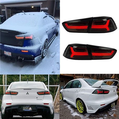MITSUBISHI LANCER GT EVO X 10 Smoke Lens LED Light Bar Tail Lamp with Sequential Signal Light (AUDI Style)