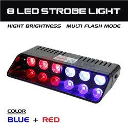 6 LED Car/Truck/Police Emergency Warning Strobe Light with Cigarette Lighter Power Adapter and Suction Cup (Red Blue)