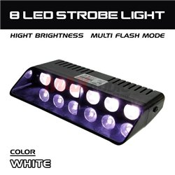 6 LED Car/Truck/Police Emergency Warning Strobe Light with Cigarette Lighter Power Adapter and Suction Cup (White White)