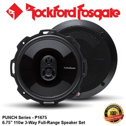 "ORIGINAL ROCKFORD FOSGATE USA PUNCH SERIES P1675 110W 6.75"" 3-WAY FULL RANGE SPEAKER SYSTEM SET"