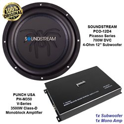 ORIGINAL SOUNDSTREAM PCO-12D4 700W DVC 4-Ohm 12″ Subwoofer + PUNCH PH-M350 3500W Class-D Monoblock Amplifier