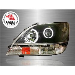 TOYOTA HARRIER XU10 LEXUS RX300 1997 - 2003 EAGLE EYES Black Housing CCFL LED Light Ring Projector Head Lamp [HL-102-1]