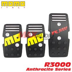 MOMO ITALY R3000 Anthracite Series Aluminum Alloy Manual Gear Anti Slip Racing Sport Pedal Pad Kit (MT) (Black)