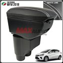 PERODUA MYVI 2018 Premium Quality Adjustable Leather Arm Rest with USB Charger Extension (White Line)