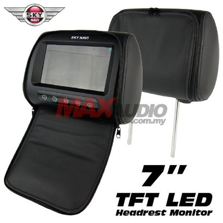 "SKY NAVI 7"" HD TFT LED Screen Leather Car Vehicle Headrest Monitor with Cover Zipper (Pair) (Black)"