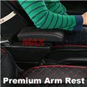MOST CARS Premium Quality Adjustable Black Leather With Red Stitch Arm Rest with USB Charger Extension & Cup Holder