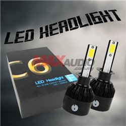 C6 Black Series 6500K High Intensity Car Vehicle Automotive LED Head Light Bulb Conversion Kit (Pair)