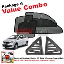 [Value Combo] PERODUA BEZZA (4pcs) SAMURAI SHADES + (1set) 3D Carbon Fiber Side Window Cover