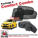 [Comfort Combo] PERODUA MYVI Lagi Best/ Icon (4pcs) SAMURAI SHADES + (1set) Premium Arm Rest with USB Extention