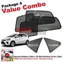 [Value Combo] PERODUA MYVI 2018 (4pcs) SAMURAI SHADES + (1set) 3D Carbon Fiber Side Window Cover