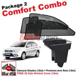 [Comfort Combo] PROTON SAGA 2016 (4pcs) SAMURAI SHADES + (1set) Premium Arm Rest with USB Extention
