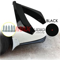 Universal Bright Black Color Rear Bumper Canard Diffuser (pair)