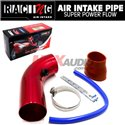 Universal Car Automobile Racing Air Intake Filter Alumimum Pipe Power Flow Kit Red