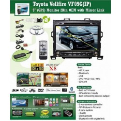 "TOYOTA ALPHARD/ VELLFIRE ANH20 2008 - 2014 DLAA 9"" Double Din DVD MP3 CD USB SD BT TV GPS Player Free Rear Camera & TV Antenna"