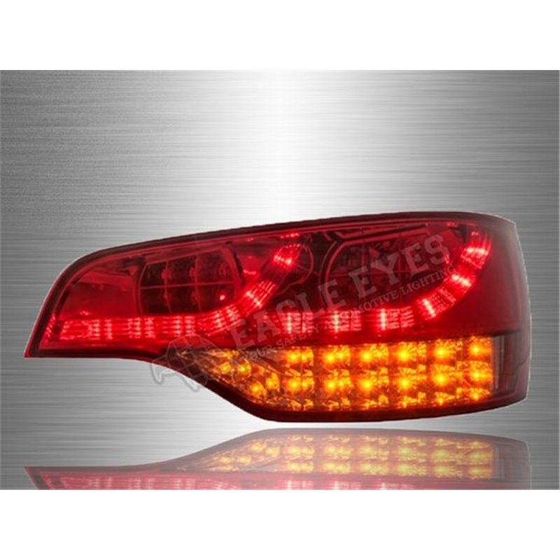 1 Pair Red Rear Bumper Fog Lamp Tail Light Lens Reflective for Audi Q7 2007-2015