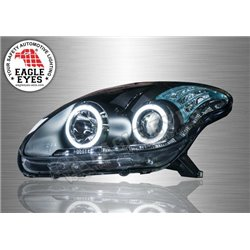 PERODUA MYVI 2005 - 2011 EAGLE EYES Black Lens Projector LED DRL Head Lamp Extreme LED Ring (Pair) [HL-101-3]