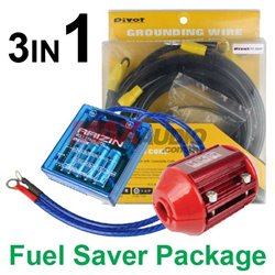 3in1 PIVOT VS-1 Voltage Stabilizer + PIVOT 5-Point Grounding Cable + HKS Magnet Fuel Saver Package