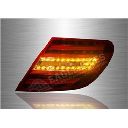 MERCEDES BENZ W204 C-Class 2007 - 2013 Red & Clear Lens LED Light Bar Tail Lamp (Pair) [TL-061-BENZ]