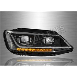 VOLKSWAGEN JETTA A6 2011 – 2018 P Style Projector Head Lamp with Sequential Signal  (Pair) [HL-250-SQ]