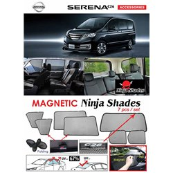 NISSAN SERENA C26 2010 - 2016 NINJA SHADES UV Proof Custom Fit Car Door Window Magnetic Sun Shades (7pcs)