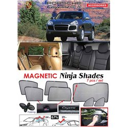 PORSCHE CAYENNE 2003 - 2010  NINJA SHADES UV Proof Custom Fit Car Door Window Magnetic Sun Shades (7pcs)
