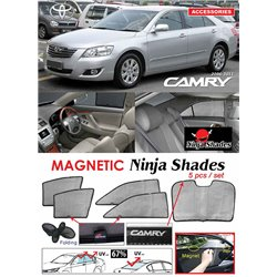 TOYOTA CAMRY XV40 2006 - 2011 NINJA SHADES UV Proof Custom Fit Car Door Window Magnetic Sun Shades (5pcs)