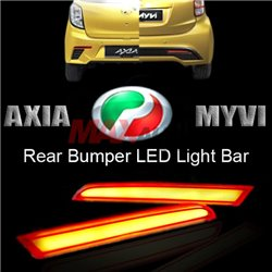 PERODUA AXIA / MYVI HIGH QUALITY Red Lens Rear Bumper Reflector Lamp with LED Light Bulb (Pair)