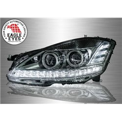 MERCEDES BENZ S-CLASS W221 2006 - 2013 EAGLE EYES Chrome Housing DRL LED Double Projector Head Lamp (Pair) [HL-041-BENZ]