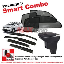 [Smart Combo] PERODUA BEZZA (4pcs) SAMURAI SHADES + (1set) Premium Arm Rest + (1set) MUGEN Style Door Visor